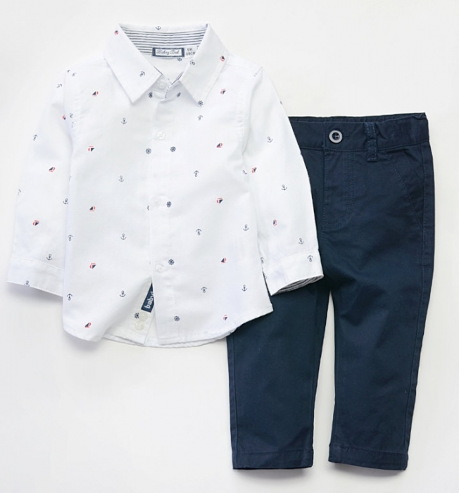 Set baiat camasa maneca lunga si pantalon chino navy , Babybol 0