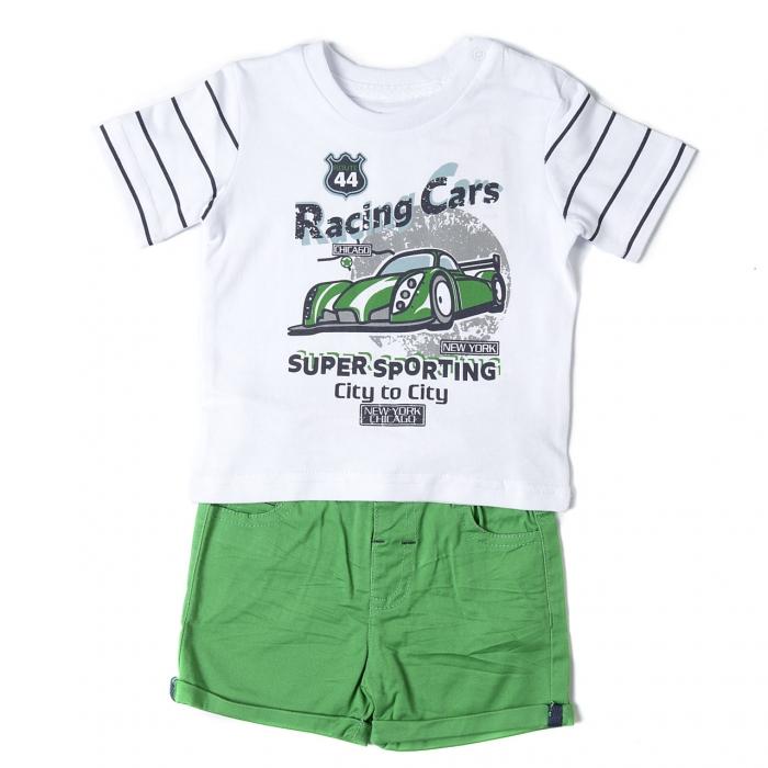Set baiat din doua piese tricou maneca scurta si pantalon scurt verde, Babybol 0
