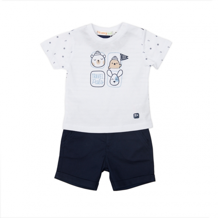 Set baiat tricou + pantalon scurt Babybol, navy 0