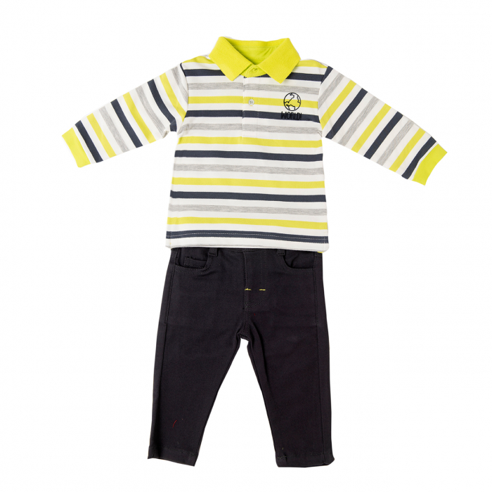Set baiat, tricou polo dungi verzi si pantalon lung gri, Babybol 0