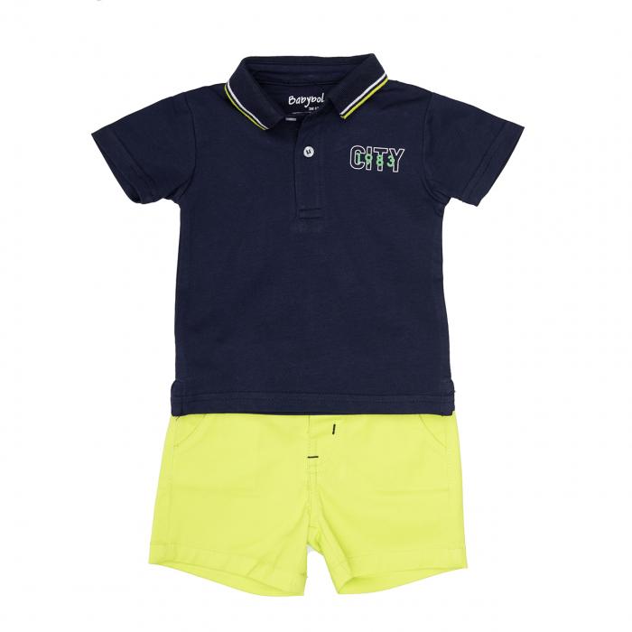 Set baiat tricou polo si pantalon scurt lime, Babybol 0