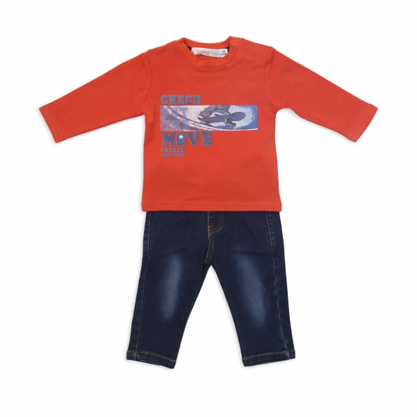 Set tricou bumbac si pantalon jeans, baiat,  Babybol Barcelona 0
