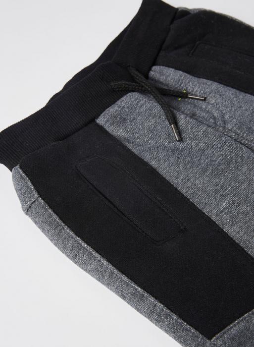 Set baieti, tricou  maneca lunga cu pantalon vatuit gri, Boboli 3