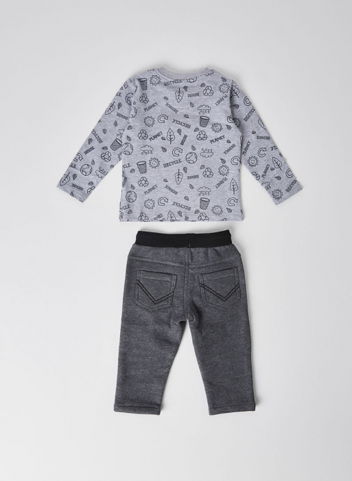 Set baieti, tricou  maneca lunga cu pantalon vatuit gri, Boboli 2