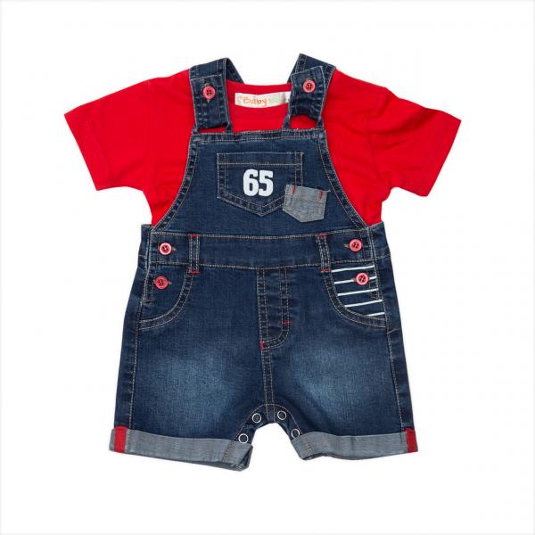 Set bebe baiat, salopeta jeans cu tricou rosu , Babybol 0