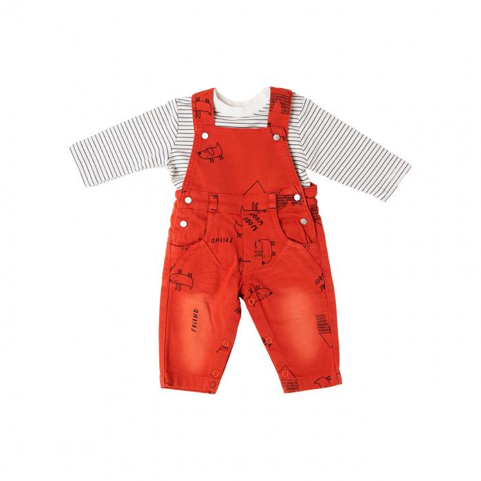 Set bebe baiat salopeta jeans portocalie si tricou , Babybol 0