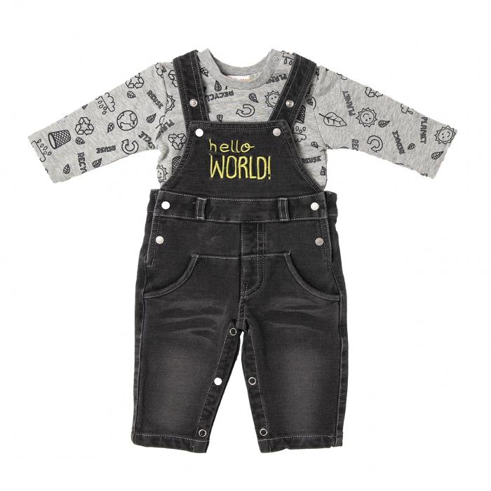 Set bebe baiat salopeta jeans si tricou, Babybol 0