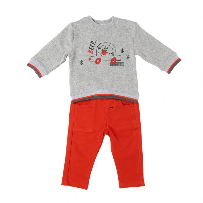 Set bebe baiat, tricou vatuit cu pantaloni orange, Babybol 0