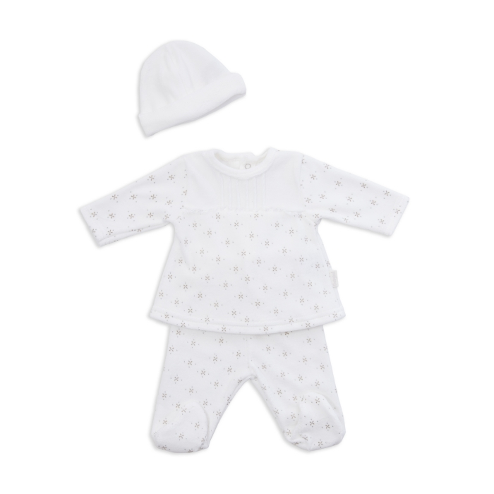 Set bebe fetita 2 piese si caciula, catifea crem cu imprimeu stelute, Babybol 0