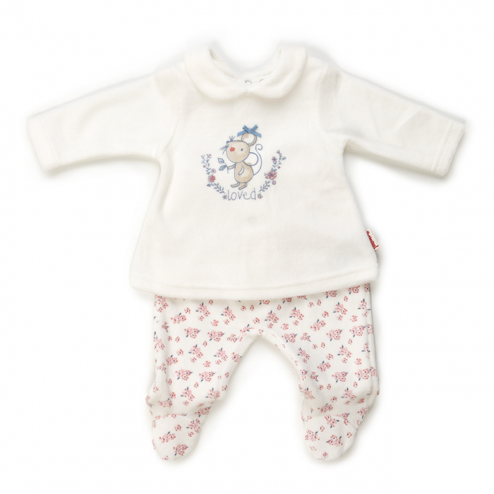 Set bebe fetita, bluza cu maneca lunga si pantaloni cu botosei, crem, Babybol 0