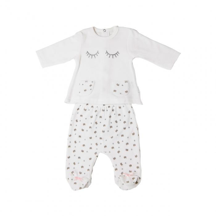 Set bebe fetita catifea, bluza si pantalon cu botosei, alba, Babybol 0