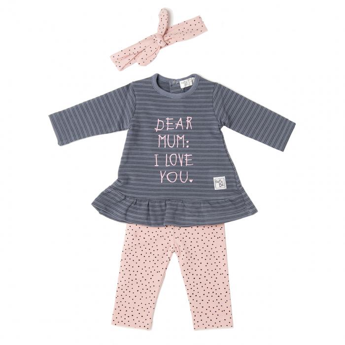 Set bebe rochita cu colant si bandana , gri/roz, Babybol [0]