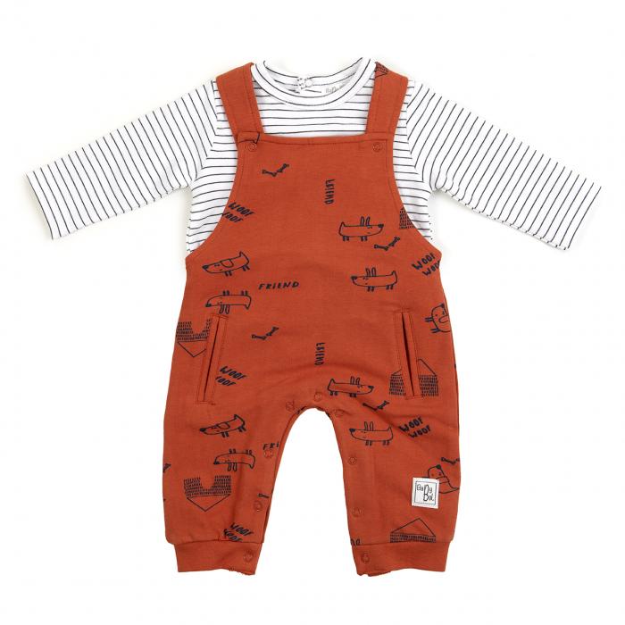 Set bebe baiat , salopeta bumbac caramizie si tricou in dungi , Babybol 0