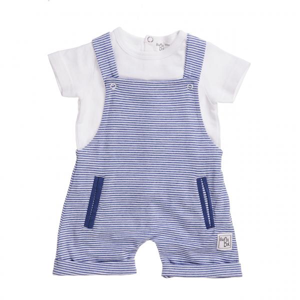 Set bebe salopeta si tricou alb, Babybol 0
