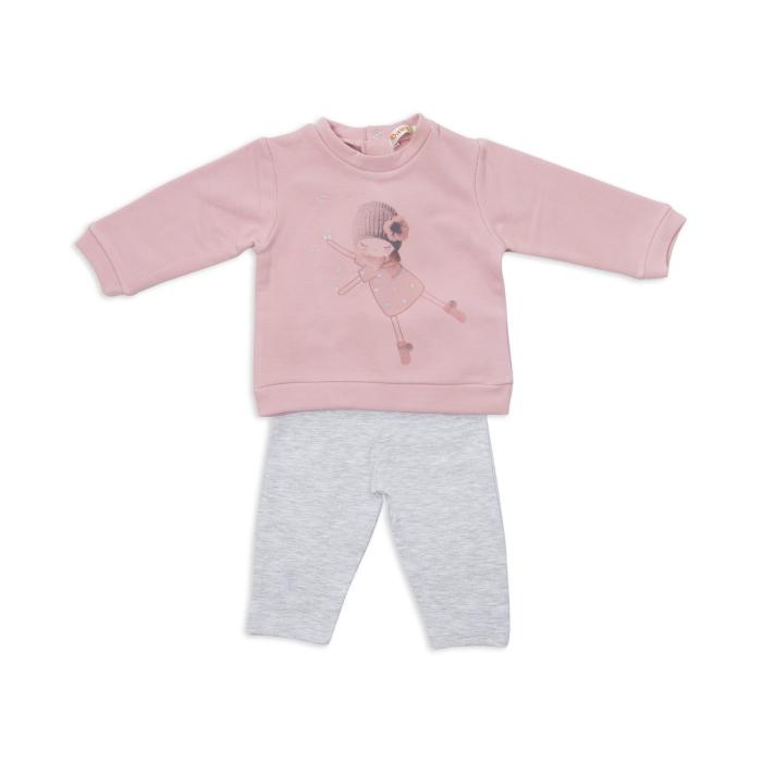 Set bumbac fetite , bluza roz si colant gri, Babybol 0