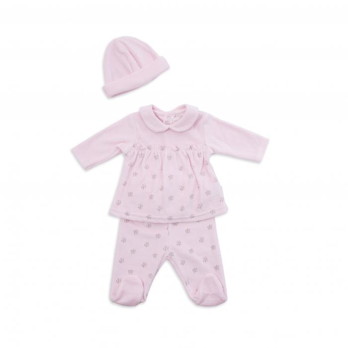 Set catifea 3 piese bebe fetita, roz, Babybol [0]