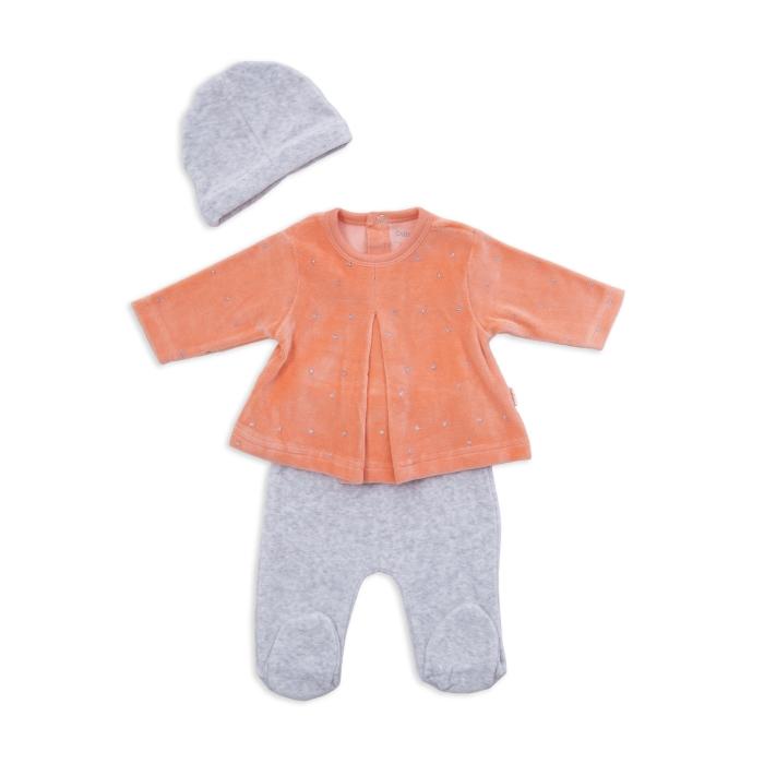 Set catifea bebe fetita 2 piese si caciulita ,orange , Babybol 0
