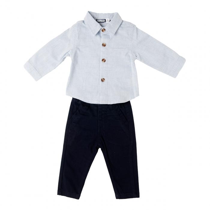 Set elegant 2 piese bebe baiat, camasa si pantalon , Babybol 0