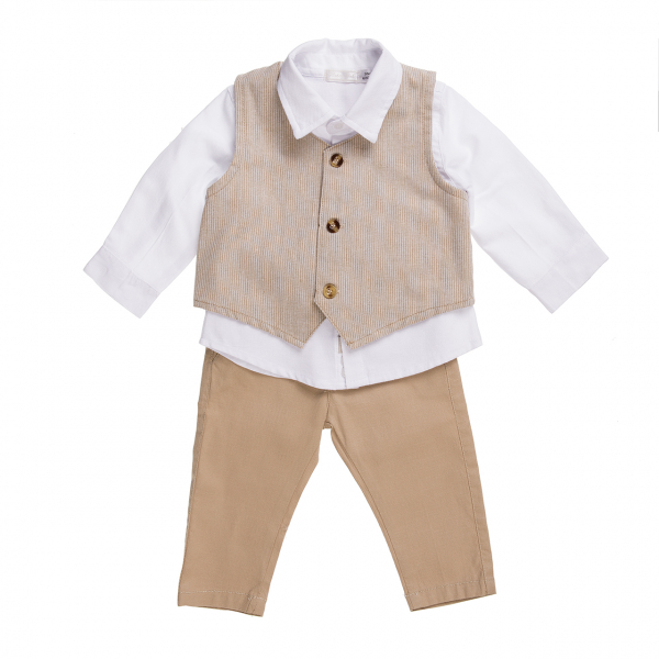 Set elegant in 3 piese baiat, camasa-vesta-pantaloni , bej, Babybol 0