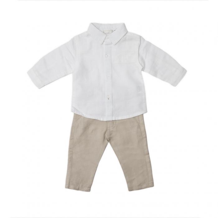 Set elegant baieti, camasa alba si pantaloni din in , Babybol 0