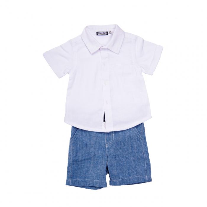 Set elegant bebelusi, camasa alba cu pantaloni scurti bleu, Babybol 0