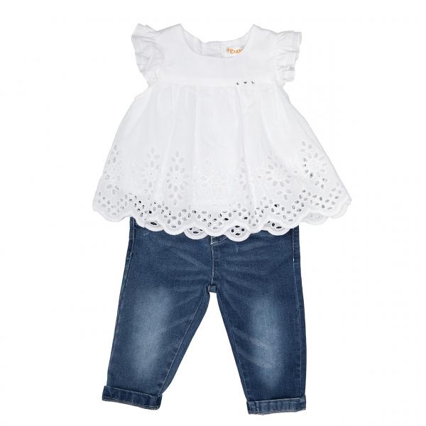 Set fete bluza alba brodata si jeans lung, Babybol 0
