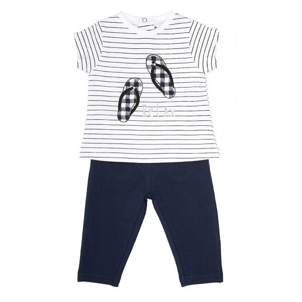 Set fete, tricou maneca scurta si pantaloni strech, navy , Babybol 0
