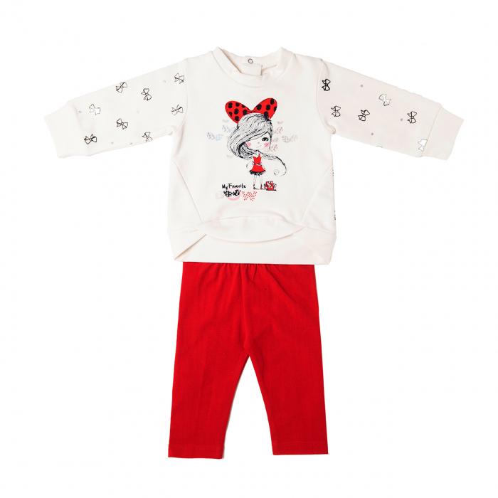 Set fetite bluza alba cu colant rosu, Babybol [1]
