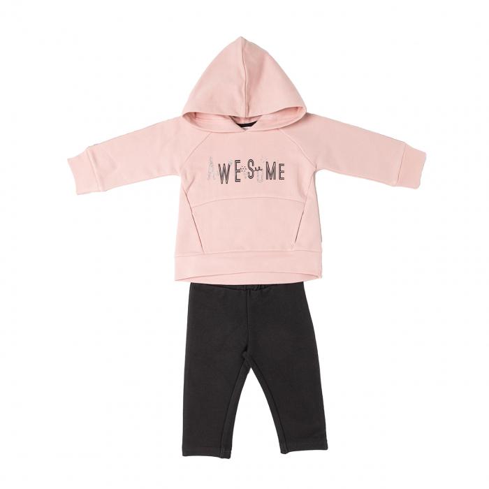 Set fetite bluza cu gluga roz pudra si colant gri, awesome 0