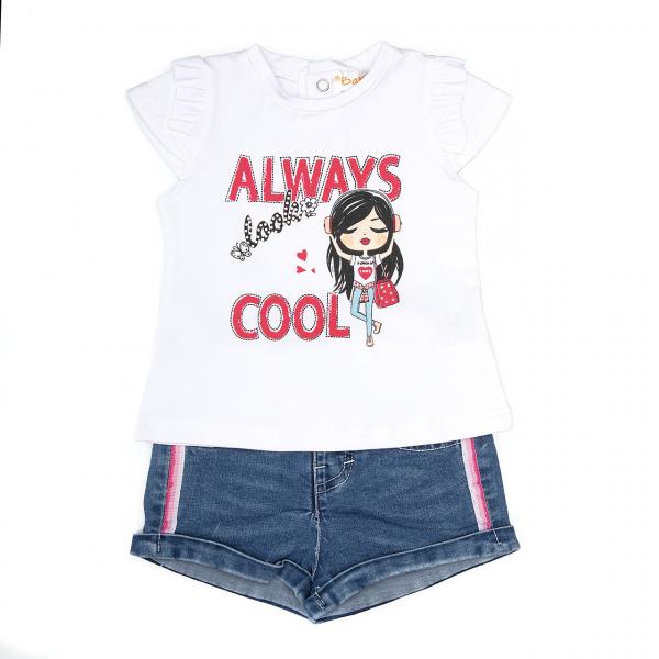 Set fetite tricou cu pantalon jeans, Babybol 0