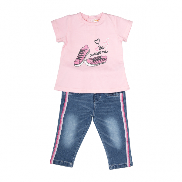 Set fetite tricou roz si jeans cu vipusca roz, Babybol [0]