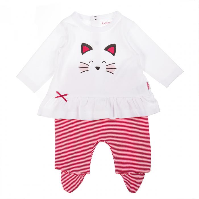 Set 2 piese bebe fetita, imprimeu pisicuta,roz,  Babybol 0