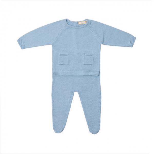 Set nou nascut tricot bumbac Babybol blue 0