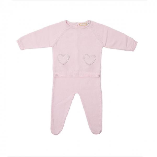 Set nou nascut tricot bumbac Babybol roz 0