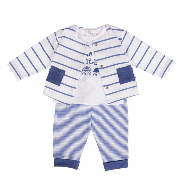 Set  piese bebe , cardigan -tricou-pantalon, bumbac soft, Babybol 0