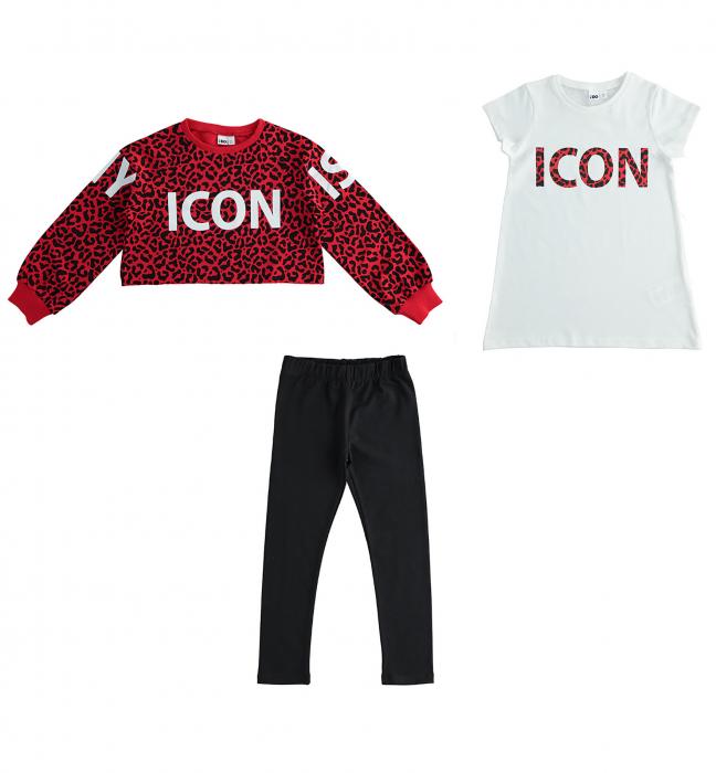 Set sport 3 piese, bluza , tricou maneca scurta si colant negru, iDO [0]