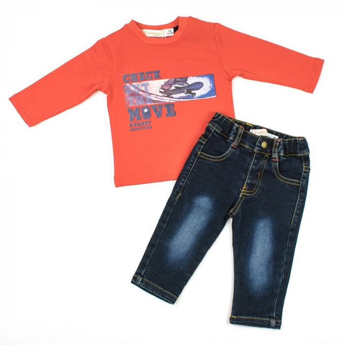 Set tricou bumbac si pantalon jeans, baiat,  Babybol Barcelona 1