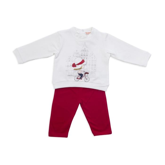 Set tricou maneca lunga si colant, Babybol, rosu 0