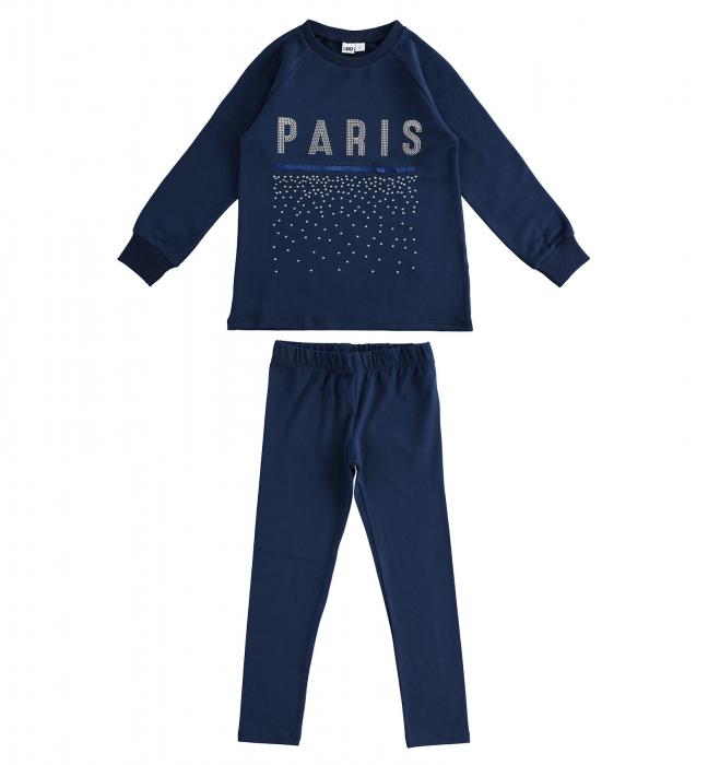 Set tricou maneca lunga si colant, imprimeu text PARIS, navy, iDO 0