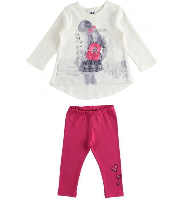 Set tricou maneca lunga si colant roz, iDO 0