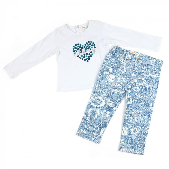 Set tricou maneca lunga si pantaloni imprimeu floral bleu, Babybol 0