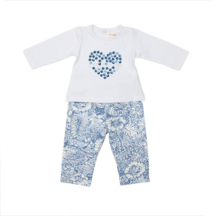 Set tricou maneca lunga si pantaloni imprimeu floral bleu, Babybol 1