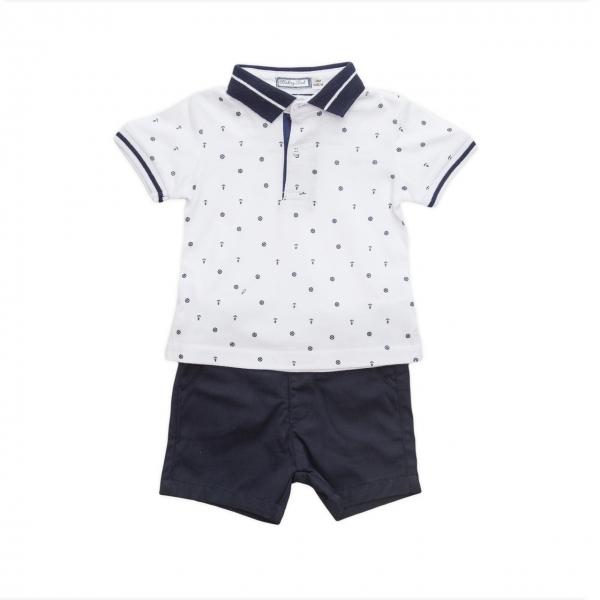 Set tricou polo si pantalon scurt Babybol navy 0