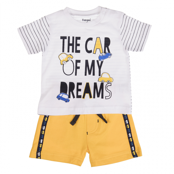 Set vara 2 piese baiat tricou cu sort galben ,Babybol 0