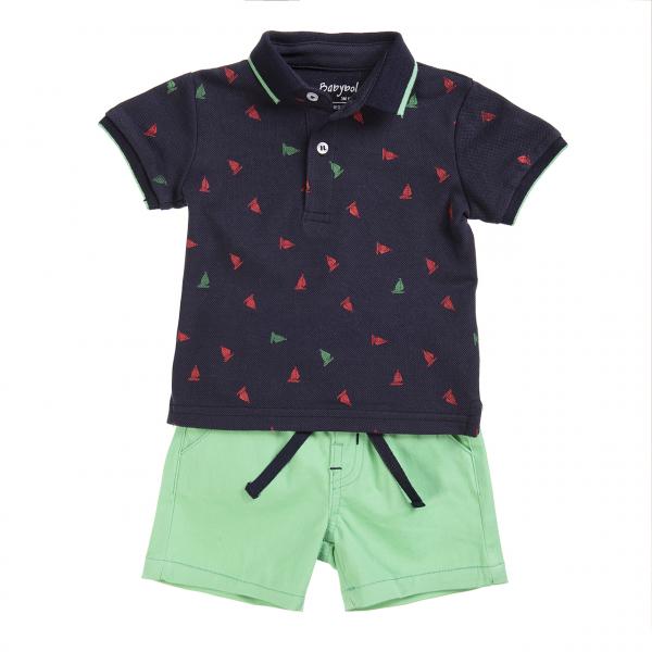 Set vara baiat tricou polo si pantalon scurt verde, Babybol [0]