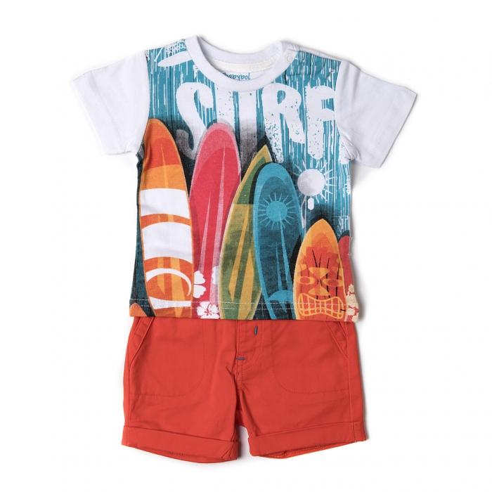 Set vara baiat tricou si pantalon scurt orange Babybol 0
