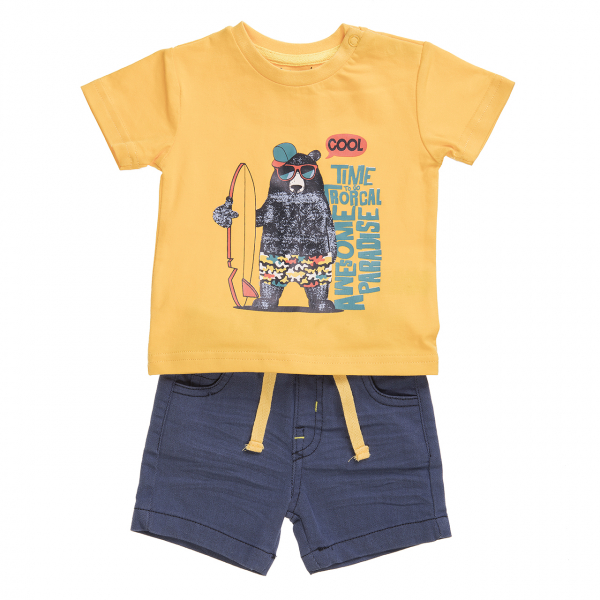Set vara 2 piese baiat , tricou galben si pantalon scurt navy, Babybol [0]