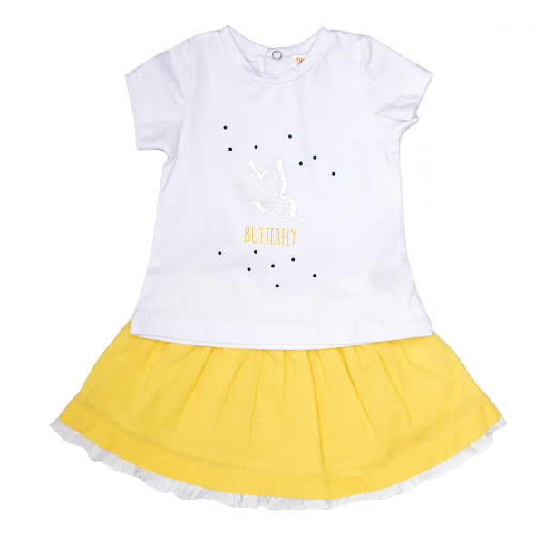 Set vara fete tricou alb cu fusta galbena, Babybol 0