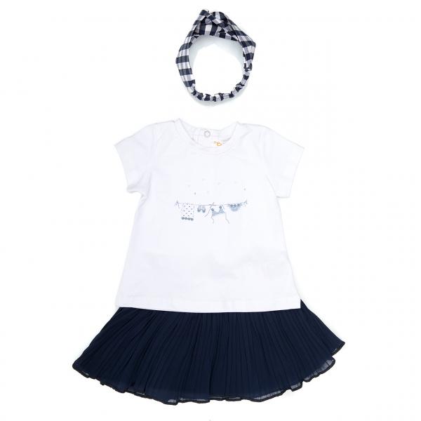 Set vara fete tricou, fusta plisee navy si bandana, Babybol 0