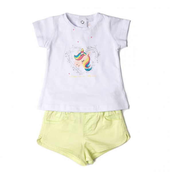 Set vara fete , tricou imprimeu unicorn si pantalon scurt , Babybol 0
